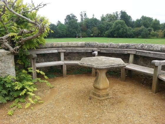 The stone table and bench where C. S. Lewis and J. R. R. Tolkien used to sit and drink. Merton College, Oxford.